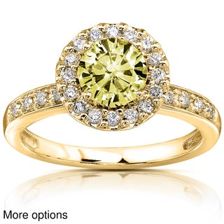 Annello 14k Yellow or White Gold Yellow Moissanite and 1/4 ct TDW Diamond Engagement Ring (G-H, I1-I2)
