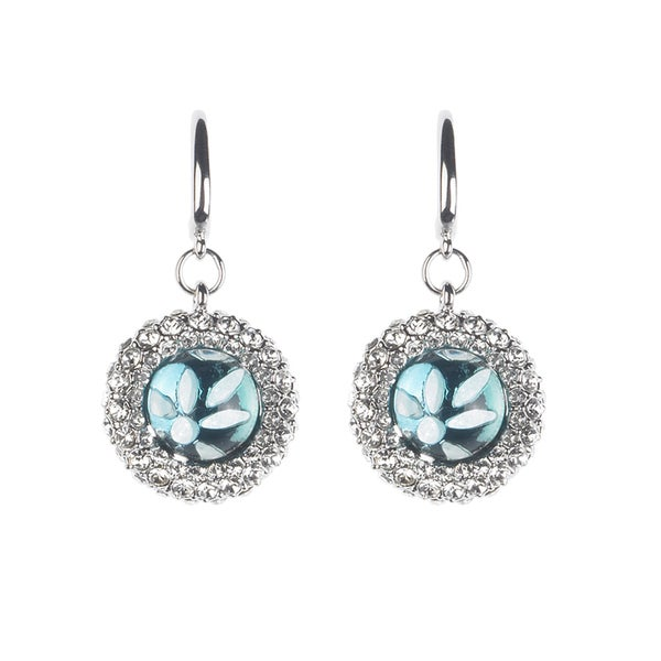 Silvertone Blue Resin and Clear Crystal Floral Drop Earrings