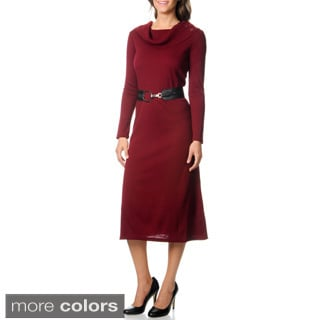 Lennie for Nina Leonard Women's Belted Sweater Dress