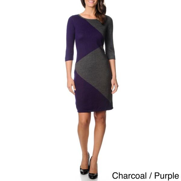 Lennie for Nina Leonard Women's Colorblocked Lightweight Sweater Dress