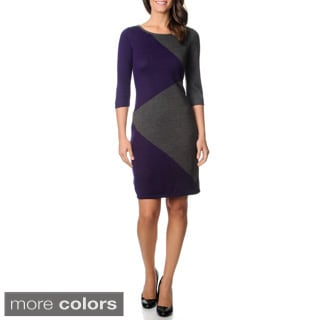Lennie for Nina Leonard Women's Colorblocked Lightweight Sweater Dress