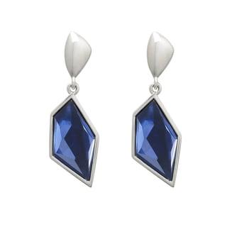 Silvertone Montana Blue Resin Geometric Earrings