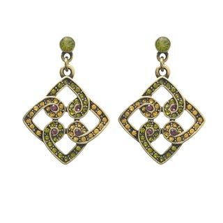 Bronzetone Multi-colored Crystal Celtic-inspired Earrings