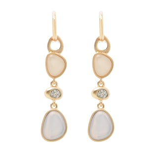 Goldtone Resin and Crystal Opalette Dangle Earrings