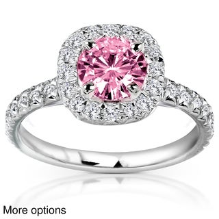 14k White or Rose Gold Pink Moissanite and 2/5ct TDW Diamond Engagement Ring (G-H, I1-I2)