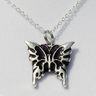 Amethyst Purple Butterfly Pendant Necklace
