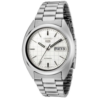 Seiko Men's 5 Automatic SNXF05K Silver Stainless Steel Automatic Watch with White Dial