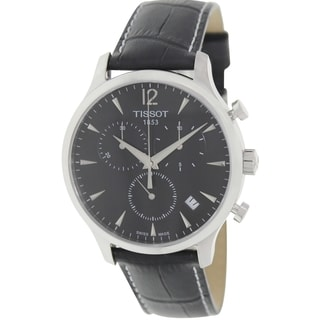 Tissot Men's Black Leather Swiss Quartz Silver Dial Watch