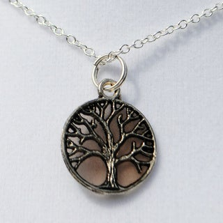 Smokey Brown Tree of Life Pendant Necklace