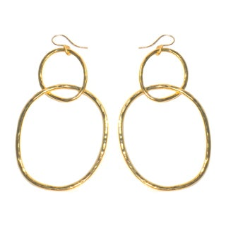 Bita Pourtavoosi Hammered 24-karat Gold-plated Double Hoop Earrings