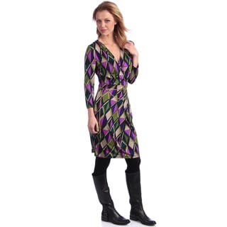 Amelia Women's 'Jill of Diamonds' Print Mock Wrap Dress