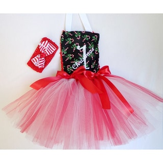 Girls Embroidered 1st Christmas Tutu Dress