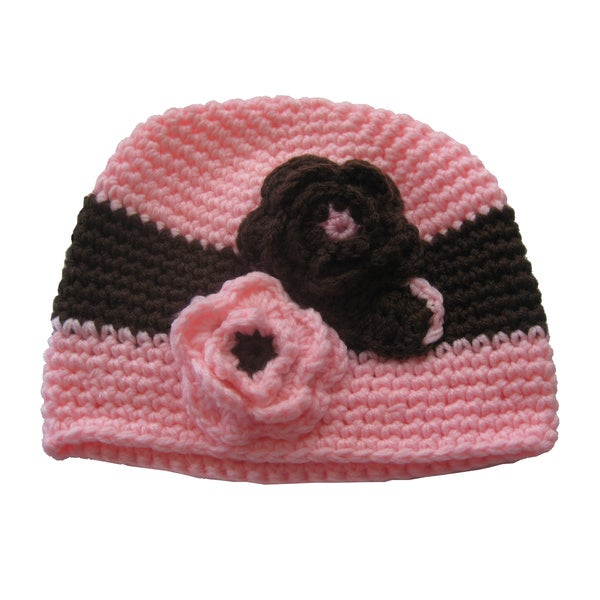 Pink and Chocolate Mikaela Crocheted Hat
