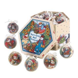 Country Snowman Ornament Box Set (Set of 12)