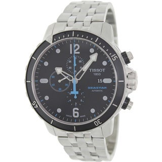 Tissot Men's T066.427.11.057.00 Silver Stainless-Steel Swiss Quartz Watch with Black Dial