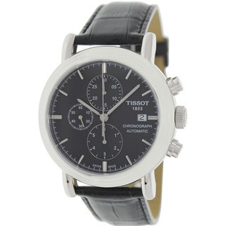 Tissot Men's Carson T068.427.16.051.00 Black Leather Automatic Watch with Black Dial
