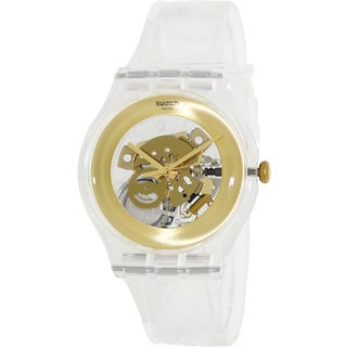 Swatch Men's Originals SUOK106 Clear Plastic Swiss Quartz Watch with Gold Dial