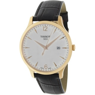 Tissot Men's Tradition T063.610.36.037.00 Brown Leather Swiss Quartz Watch with White Dial