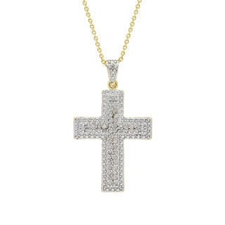 Finesque 18k Gold over Silver 1/2ct TDW Diamond Cross Necklace (I-J, I2-I3)