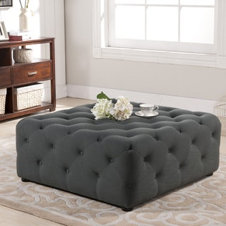 Baxton Studio Teague Gray Linen Modern Tufted Ottoman