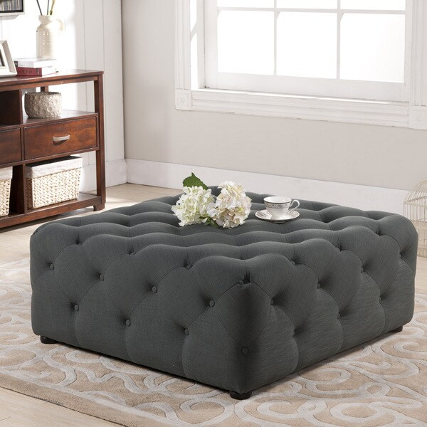 Baxton Studio Teague Gray Linen Modern Tufted Ottoman ...