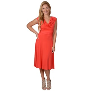 Jessica Howard Women's Drape Neck Cap Sleeve Dress