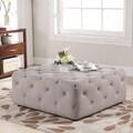 Baxton Studio Teague Beige Linen Modern Tufted Ottoman