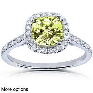 Annello 14k Yellow or White Gold Yellow Cushion-cut Moissanite and 1/4ct TDW Diamond Engagement Ring (G-H, I1-I2)