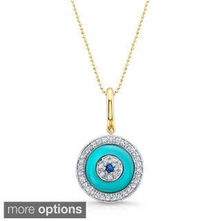 14kt Yellow Gold 1/6ct TDW Diamond and Sapphire Round Evil Eye Pendant (I-J, I1-I2)