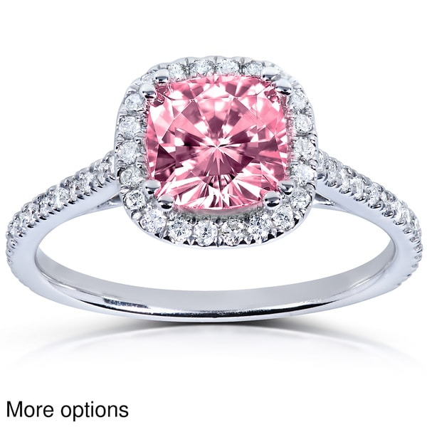 Annello 14k White or Rose Gold Pink Cushion cut Moissanite and 1 4ct TDW Diam