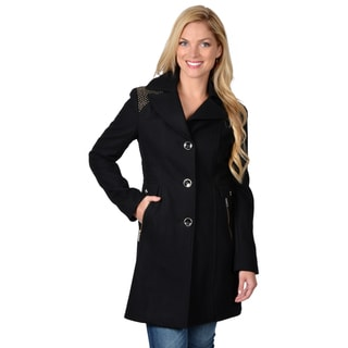 Kenneth Cole Women's Single Breasted Studded Detail Coat