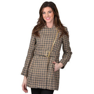 Kenneth Cole Women's Belted Houndstooth Coat