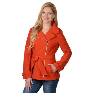 Kenneth Cole Women's Belted Asymmetrical Zipper Coat