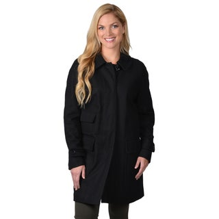 Ellen Tracy Women's Plus Pocket Detail Button-up Stadium Coat
