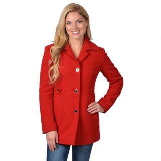 Calvin Klein Women's Long Sleeve Button-up Walking Coat