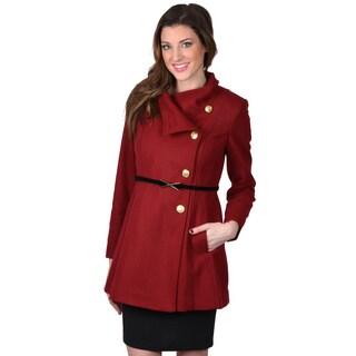 Jessica Simpson Women's Asymmetrical Button Belted Coat