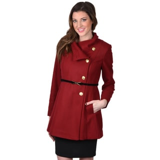 Jessica Simpson Women's Asymmetrical Button Belted Coat