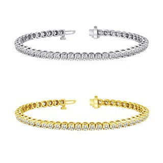 Auriya 14k Gold 15ct TDW Diamond Tennis Bracelet (H-I, I1-I2)