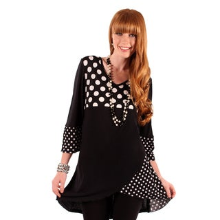 Firmiana Women's Black/White Polka-Dot Spliced Top