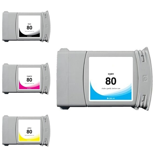 INSTEN HP 80 Cyan/ Black/ Magenta/ Yellow 4-Ink Cartridge (Remanufactured)