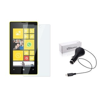 BasAcc Retractable Car Charger/ Screen Protector for Nokia Lumia 520