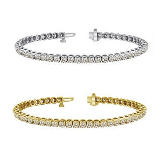 Auriya 14k Gold 15ct TDW Diamond Tennis Bracelet (J-K, I2-I3)