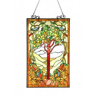 Tiffany Design 'Tree of Life' Stained Glass Panel