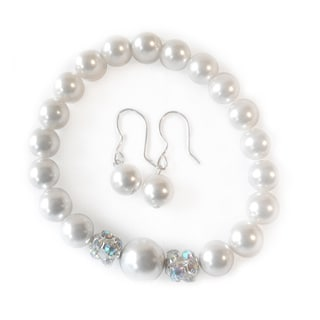 Girls Sterling Silver White Faux Pearls Earrings and Bracelet Set