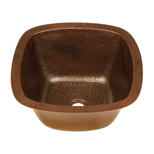 Square 14-inch Hand Hammered Copper Bathroom Sink - 15752072 ...