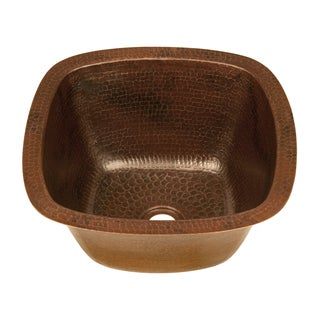 Square 14-inch Hand Hammered Copper Bathroom Sink