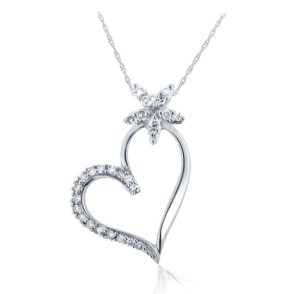 10k White Gold Diamond Flower Heart Necklace