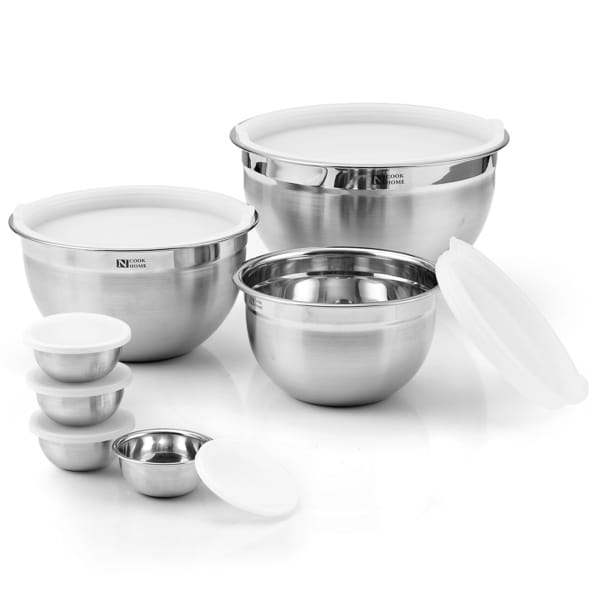 Cook N Home 14-Piece Stainless Steel Mixing Bowl Set