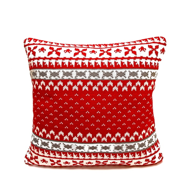 Red/ Cream Fair Isle Knitted Feather Filled Pillow