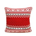 Red/ Cream Fair Isle Knitted Down Fill Pillow